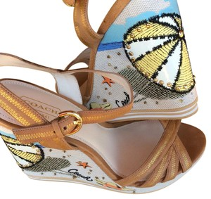 Coach Tan and Multi Embroidered Wedges