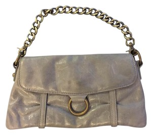 Hobo International Leather Chain Convertible Metal Grey Clutch