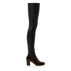 Calvin Klein Collection Thigh High Patent Black Boots