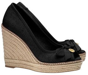Tory Burch Wedge Canvas Platform Black Wedges