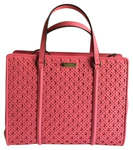 Kate Spade Leather Perforated Crosshatched Satchel in Flamingo