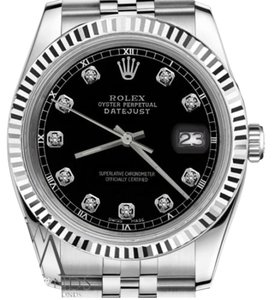 Rolex Men`s Rolex 36mm Datejust Black Color Dial with Diamond Accent Watch