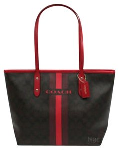 Coach Tote in Brown, black, red