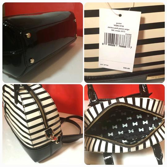 00a9382fe62 Kate Spade Crossbody Chelsea Park Porter Black White Stripes Patent Leather  Satchel 46% off retail
