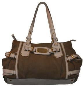 Michael Kors Gansevoort Purse Purse Satchel in Wheat with White Leather Trim