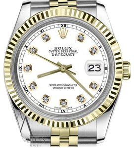 Rolex Men`s Rolex 36mm Datejust2Tone White Color Dial with Diamond Accent RT