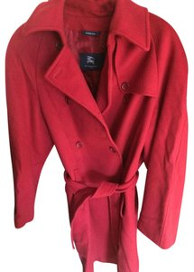 Burberry Cashmere Wool Merlot Trench Coat