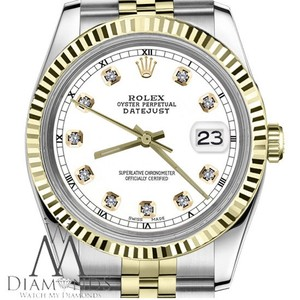 Rolex Women`s 31mm Datejust2Tone White Color Dial with Diamond Accent RT