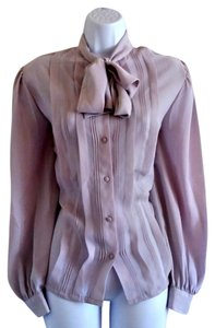 Other Vintage 80s Secretary Tie Neck Bow Top Grey