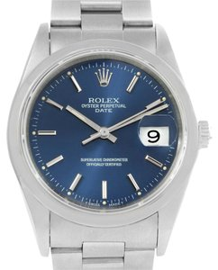 Rolex Rolex Date Mens Blue Dial Stainless Steel Watch 15200