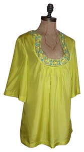 Trina Turk Lime Beaded Neck Top YELLOW