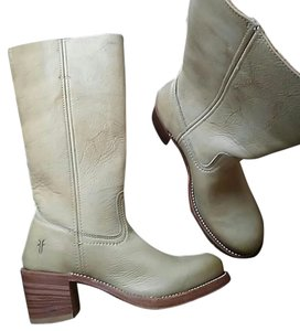Frye Tall Boot Leather Round Toe Ivory Boots