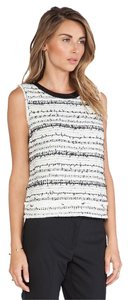 Rachel Zoe Leather Tweed Monochrome Top Black, White, Silver