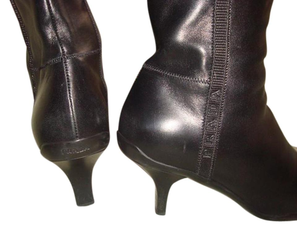 Prada Leather Black Leather Prada Zip Up Ankle Boots/Booties 36a9fb