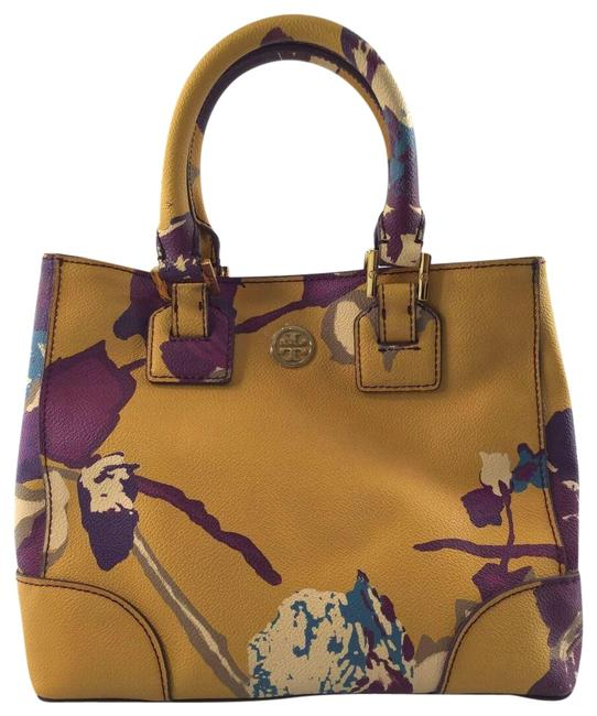 Item - Tote Cross Body Yellow and Purple Floral Leather Shoulder Bag