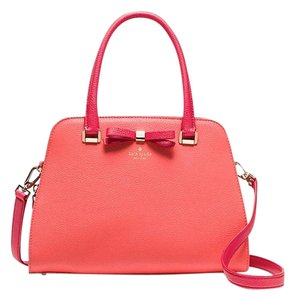 Kate Spade Leather New With Tags Sawyer Satchel in Coral Sunset/Crab Red