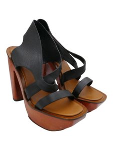 Charles Jourdan Wooden Heel Black Platforms