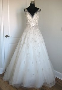Sottero and Midgley Ivory/Pewter Tulle Abrianna Formal Wedding Dress Size 8 (M)