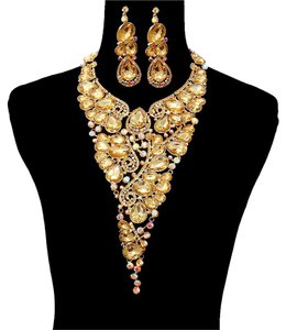 Other Topaz Necklace And Earrings Fashion Statement Set