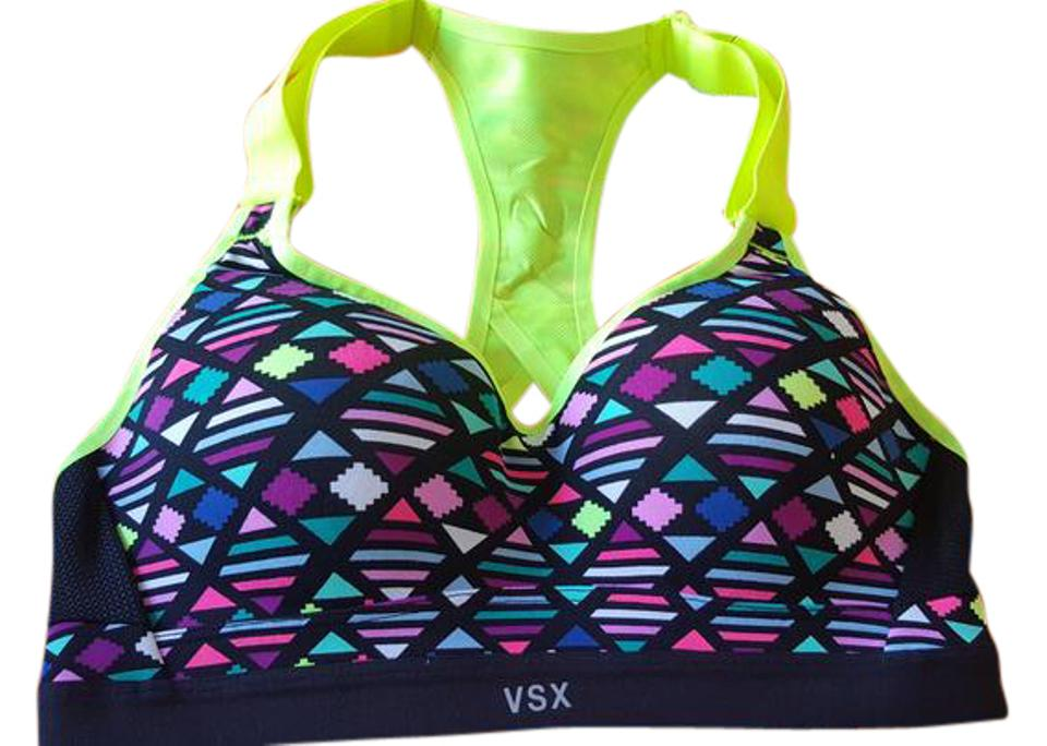 3a6c4f1e1917d Victoria s Secret Multicolor New Sports Padding Bra Colorful Workout Yoga  32a Activewear Top