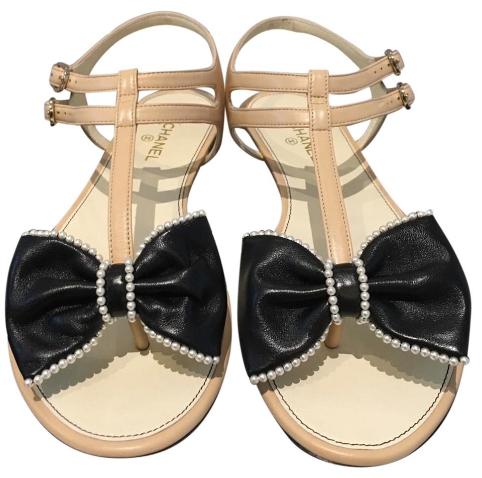 74f80e5eff1 Chanel Leather Ankle Strap Pearl Bow Flat Beige Sandals. Size  US 8 Regular  (M ...