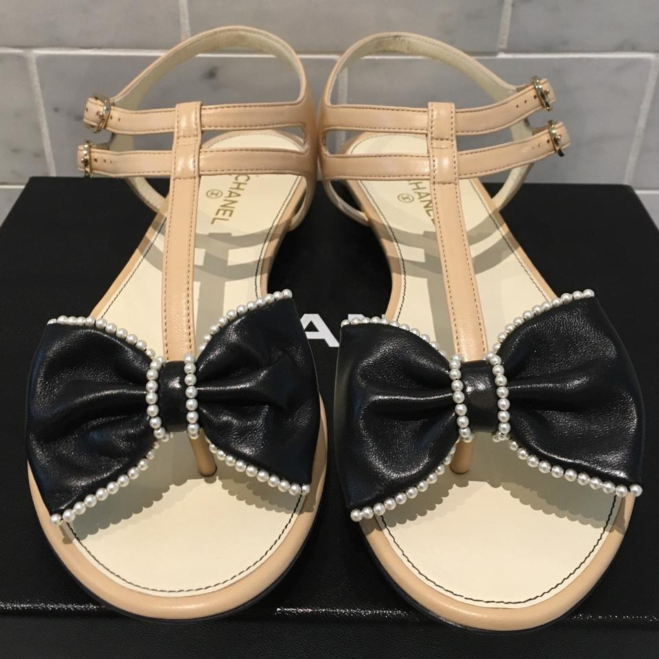 888d0cbfa2f70 Chanel Leather Ankle Strap Pearl Bow Flat Beige Sandals Size US 8 ...
