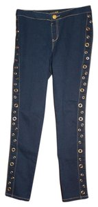 South Pole Collection Shinny Sexy Spandex Gold Grommets Skinny Jeans-Medium Wash