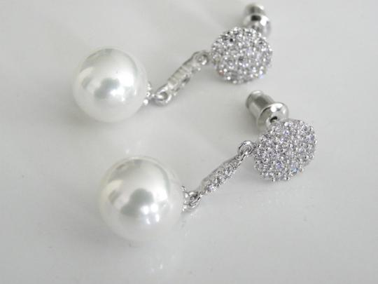 White Vintage Bohemian Cluster Drop Top Quality Cz Stones and Pearl Earrings