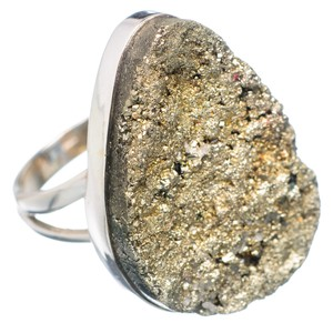 Ana Silver Co. Large Pyrite Druzy 925 Sterling Silver Ring
