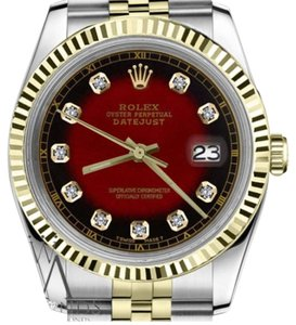 Rolex Woman`s 26mm Datejust2Tone Red Vignette Color Dial Diamond Accent RT