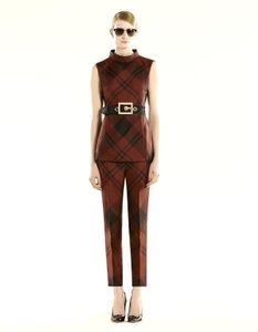 Gucci Runway Check Print Silk Sleeveless Top Red