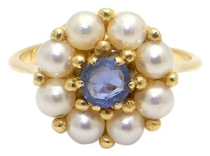 18k Natural Blue Sapphire Pearl Ring fine jewelry