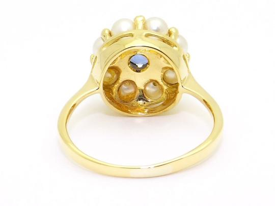 Other 18k Natural Blue Sapphire Pearl Ring fine jewelry