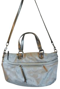Coach Satchel in White & Silver