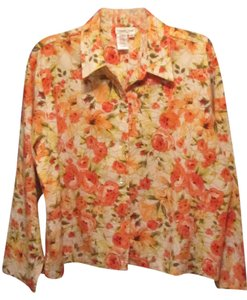 Coldwater Creek Top white with flower print