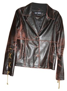 Me Jane Pleather Blazer Button Front Fall brown Leather Jacket