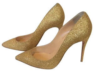 Christian Louboutin so kate gold glitter heels authentic Gold Pumps