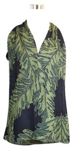 Gucci Silk Leaf Printed Halter 333476 Green Halter Top