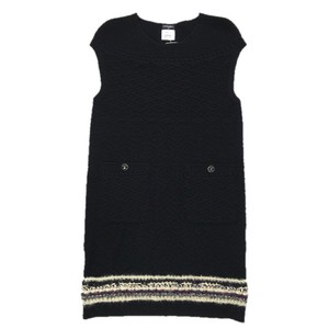 Chanel short dress BLACK/ MULTI Knit Sheath Winter on Tradesy