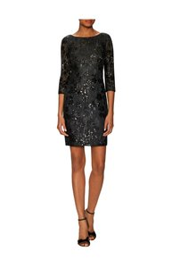 Aidan Mattox Sequin Lace Floral Sheer Sheath Dress