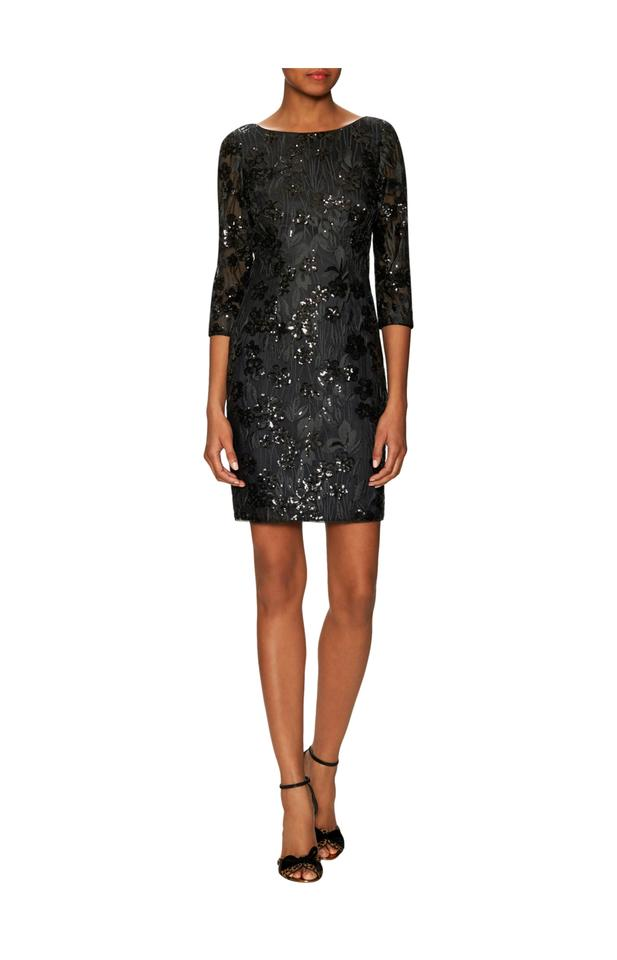 4d2f93ec Aidan Mattox Black Sequins Floral Lace Mini Cocktail Dress Size 2 ...