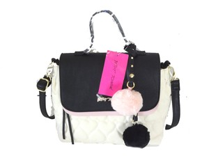 Betsey Johnson Quilted Heart Satchel in bone