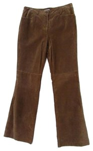 Mythology 100% Leather Boot Cut Pants Light Brown
