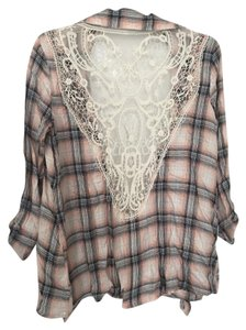 Xhilaration Flannel Plaid Lace Lace Trim T Shirt