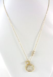 Michael Kors Michael Kors MKJ5639 MK Monogram & Heart Charm Gold Necklace NEW