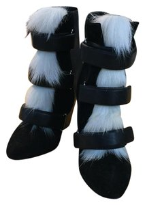 Isabel Marant Black with white fur accents Boots