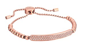 Michael Kors MICHAEL KORS LOGO PLAQUE SLIDER BRACELET ROSE GOLD W BAG MKJ5594