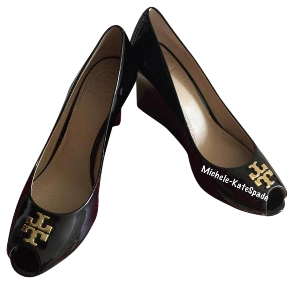 b38aaaa9e55f Tory Burch Black   Jade   85mm Patent Peep Toe Wedges. Size  US 7 Regular (M  ...