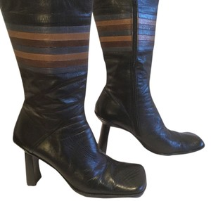 Hugo Boss Square Toe Multiple Black leather mid calf colored stripes mid calf Boots