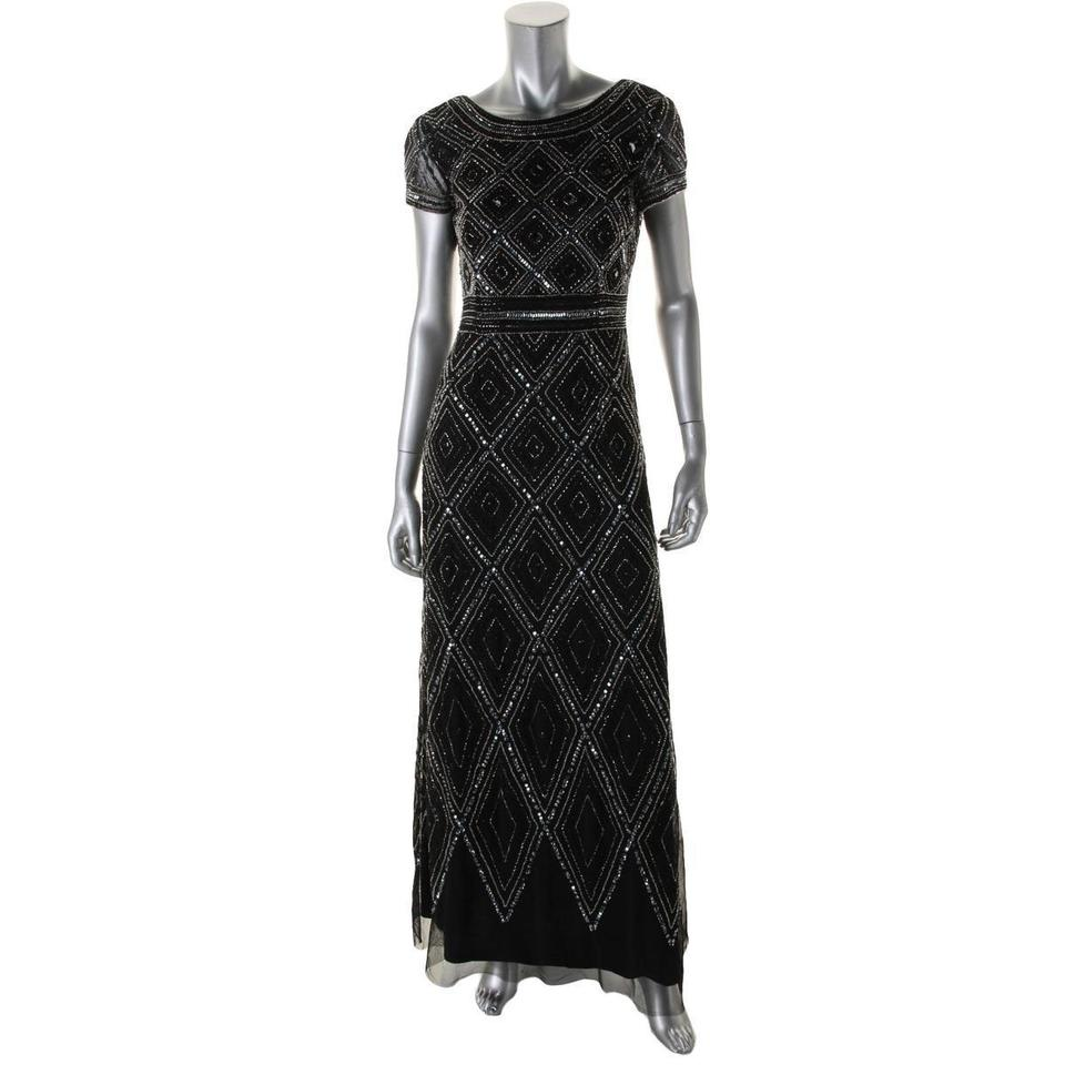 Adrianna Papell Black/Silver New Cap-sleeve Beaded Illusion Gown ...